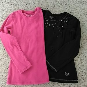 2 long sleeve Justice tees Pink/Black size 7